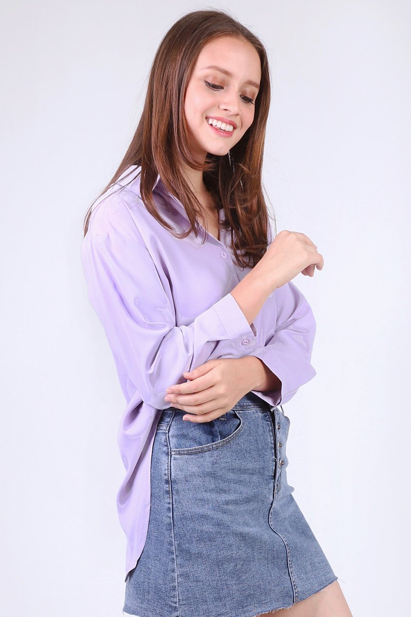 Annys Overlap Button Shirt Lilac