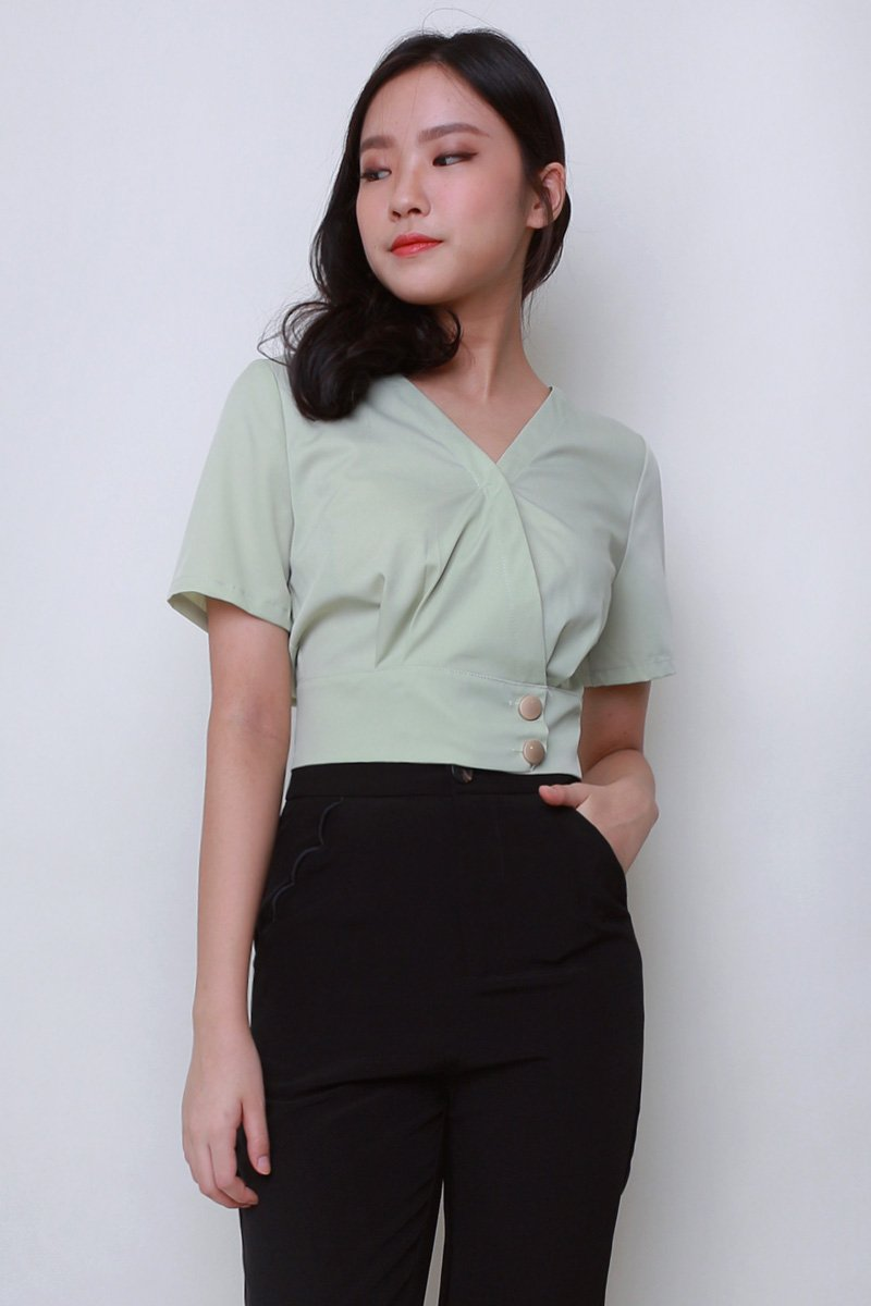 Franny Overlap Crop Top Mint