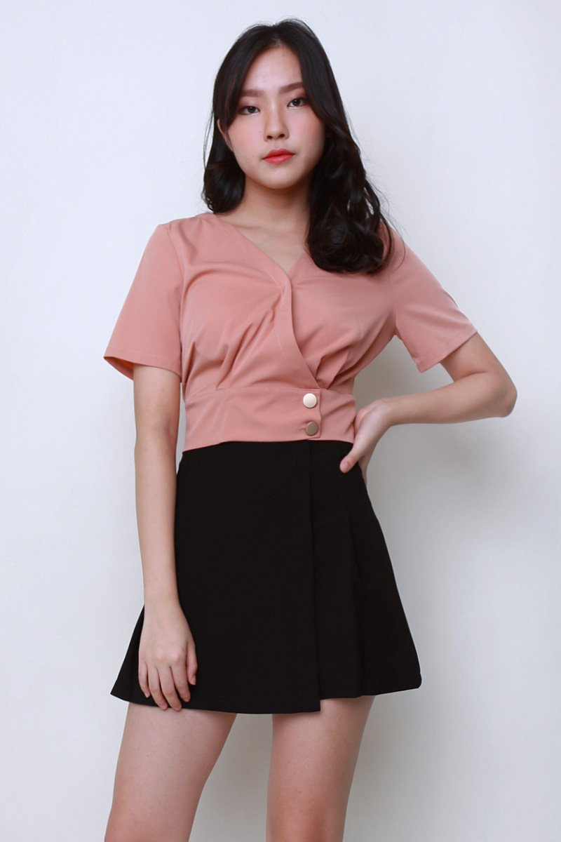 Franny Overlap Crop Top Brick