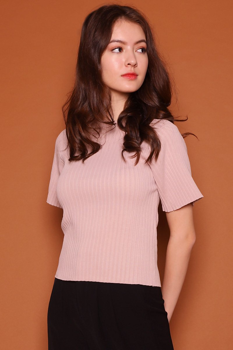 Charis Ribbed Knit Top Blush