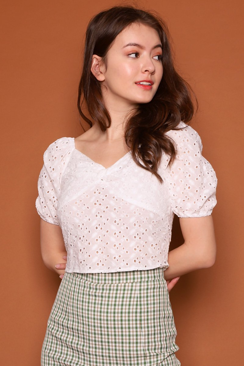[BACKORDER] Darcy Puff Sleeve Eyelet Top Ivory