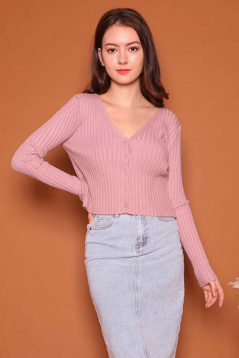 Cerise Crop Cardigan Blush