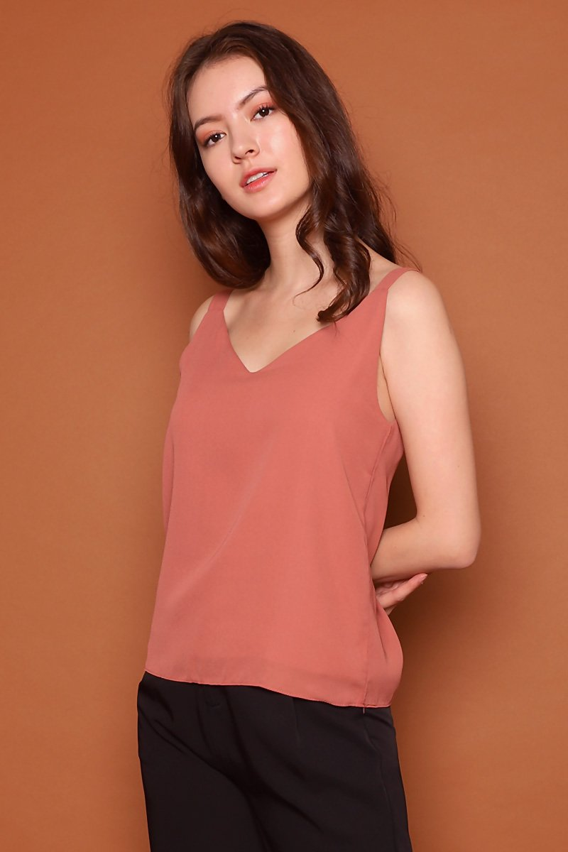 Luna Wide Strap Cami Top Brick