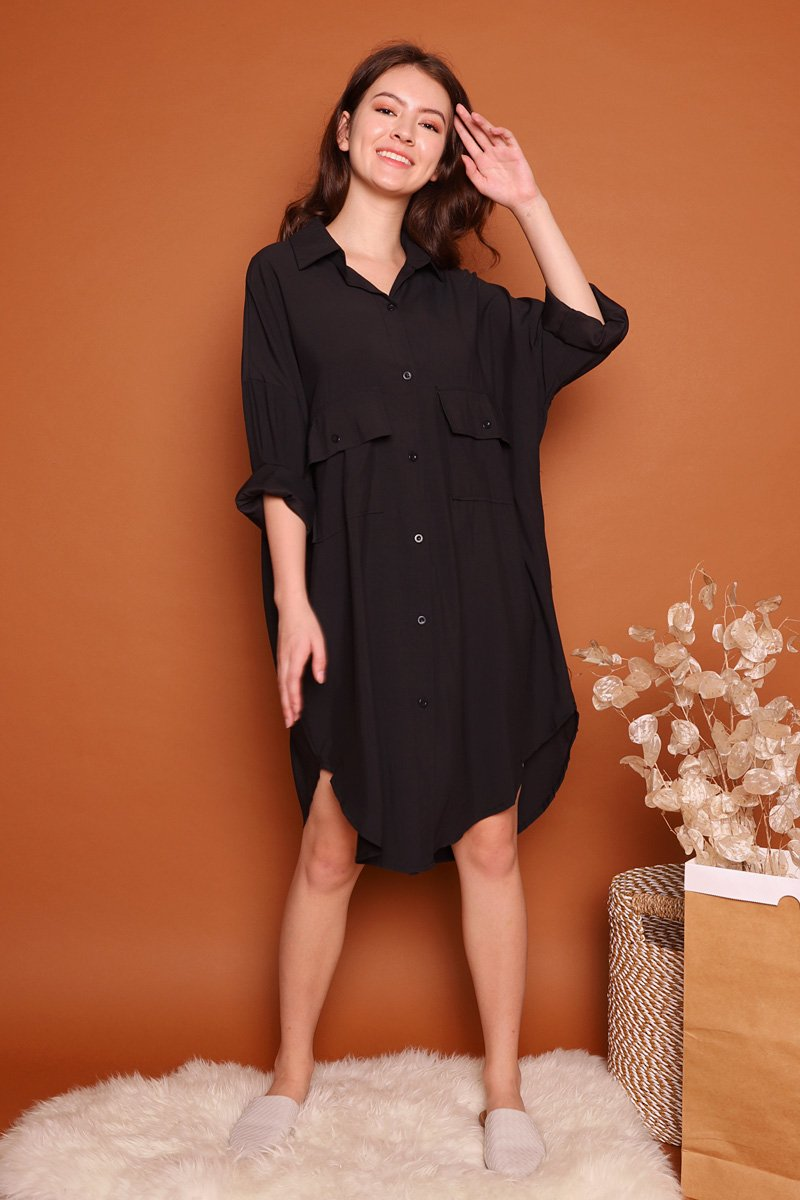 Leoni Utility Shirtdress Black