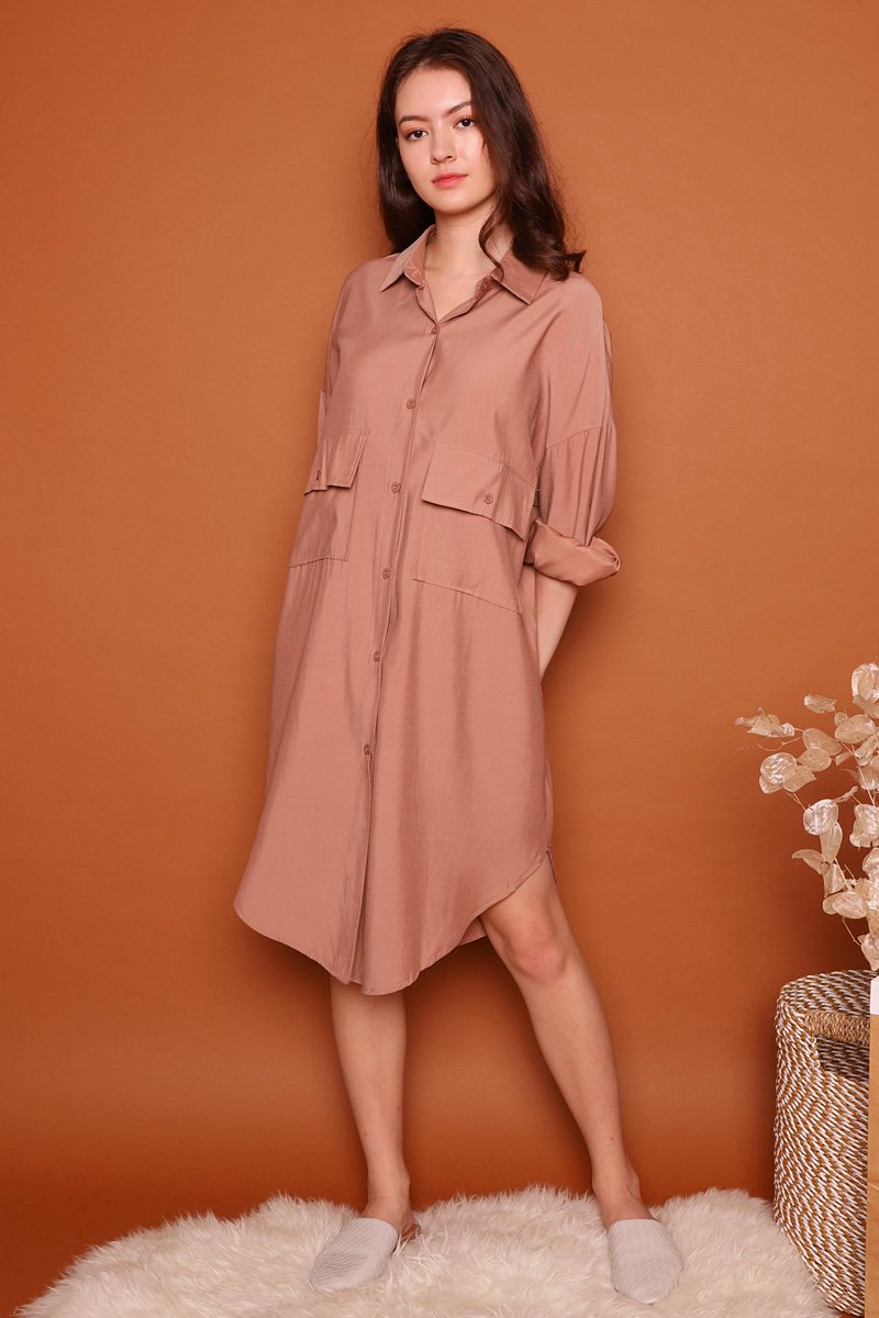 Leoni Utility Shirtdress Caramel