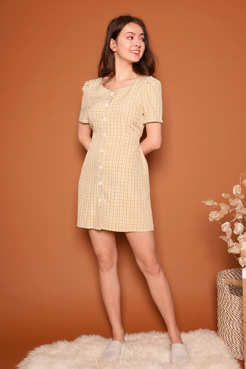 Grady Button Check Dress Mustard