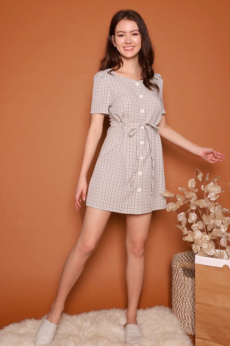 Grady Button Check Dress Mint