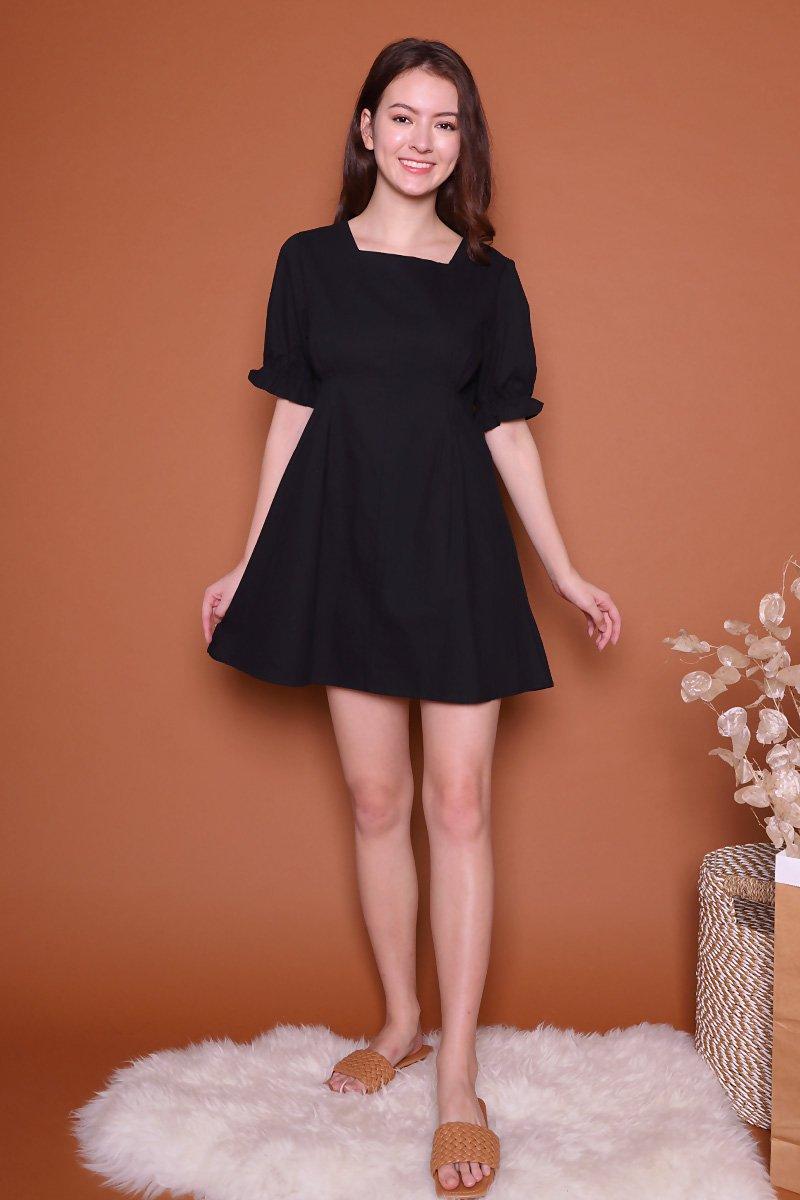 Dany Square Neck Dress Black