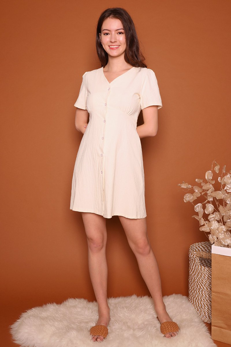 Josee Sash Tie Linen Dress Cream
