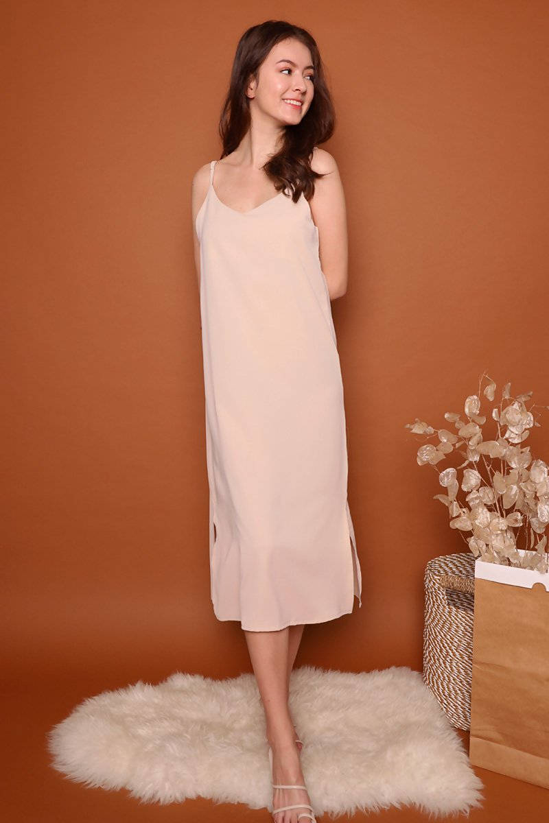 Kaela Slip On Midi Dress Nude