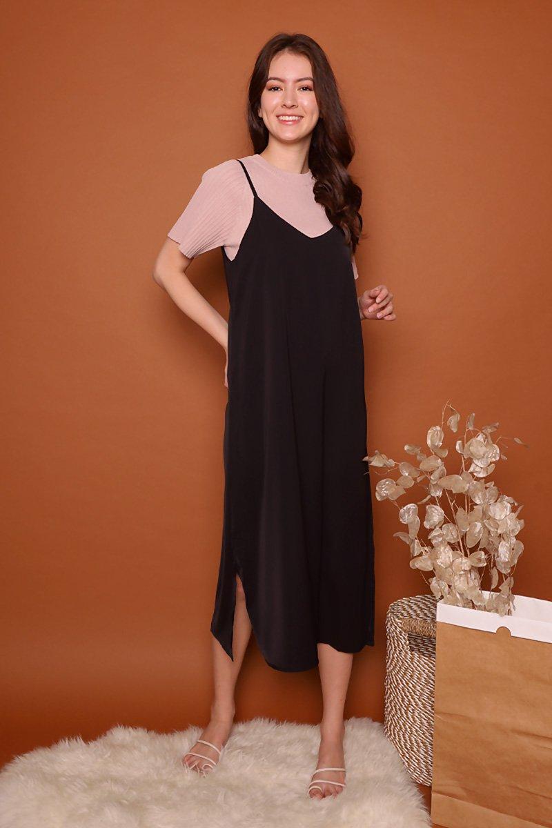 Kaela Slip On Midi Dress Black