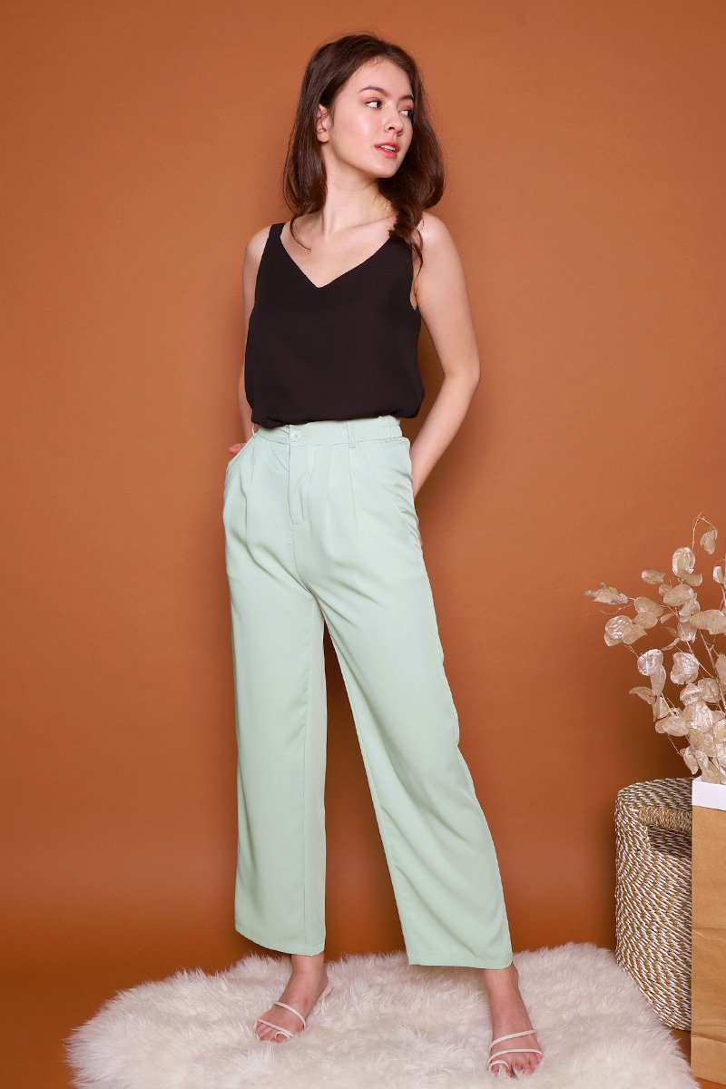 Pecola High Waist Flare Pants Sage