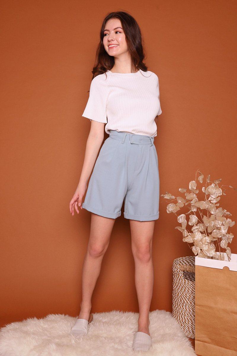 Beatrix High Waist Pleat Shorts Sky