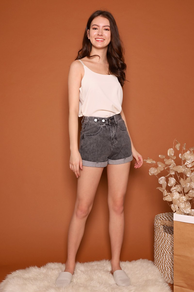Kaylin Tri-Button Denim Shorts Black