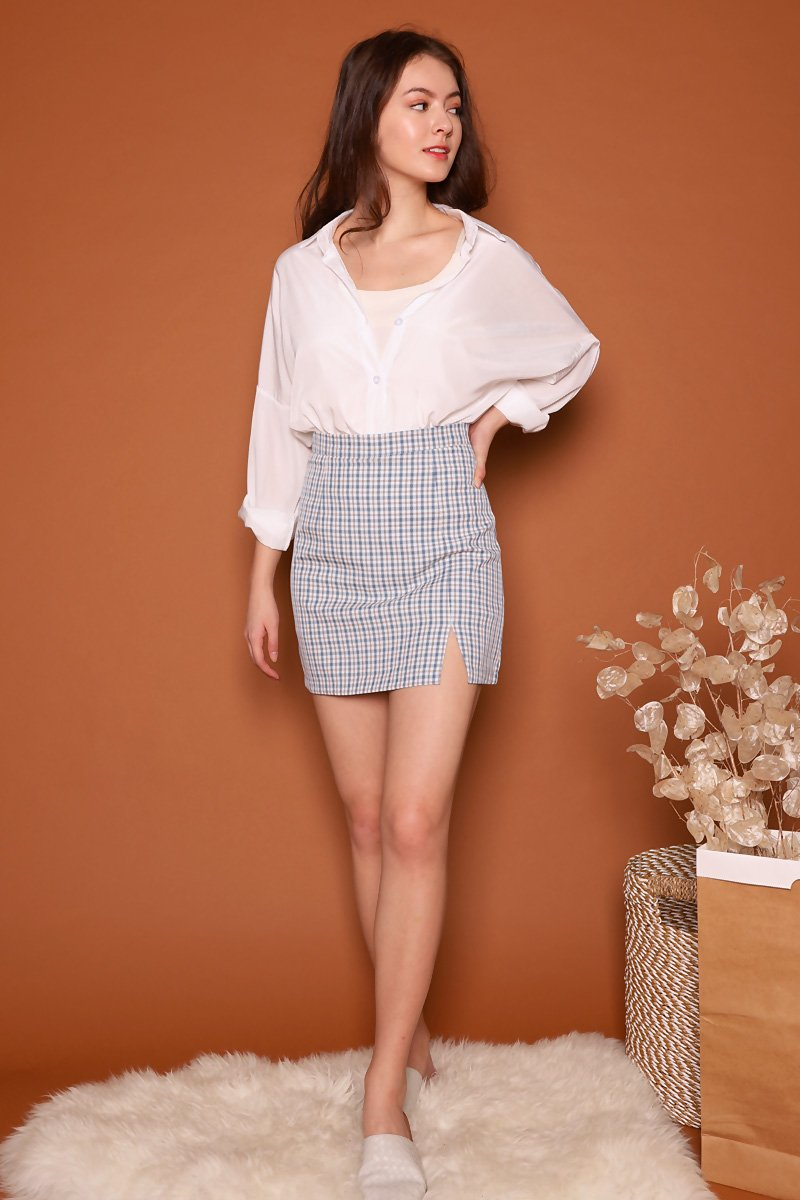 Eden Front Slit Check Skirt Sky