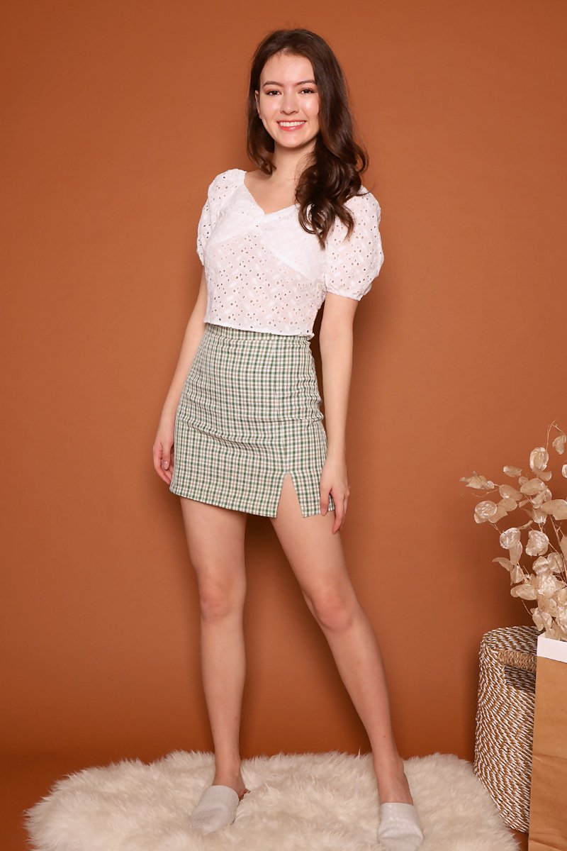 Eden Front Slit Check Skirt Green