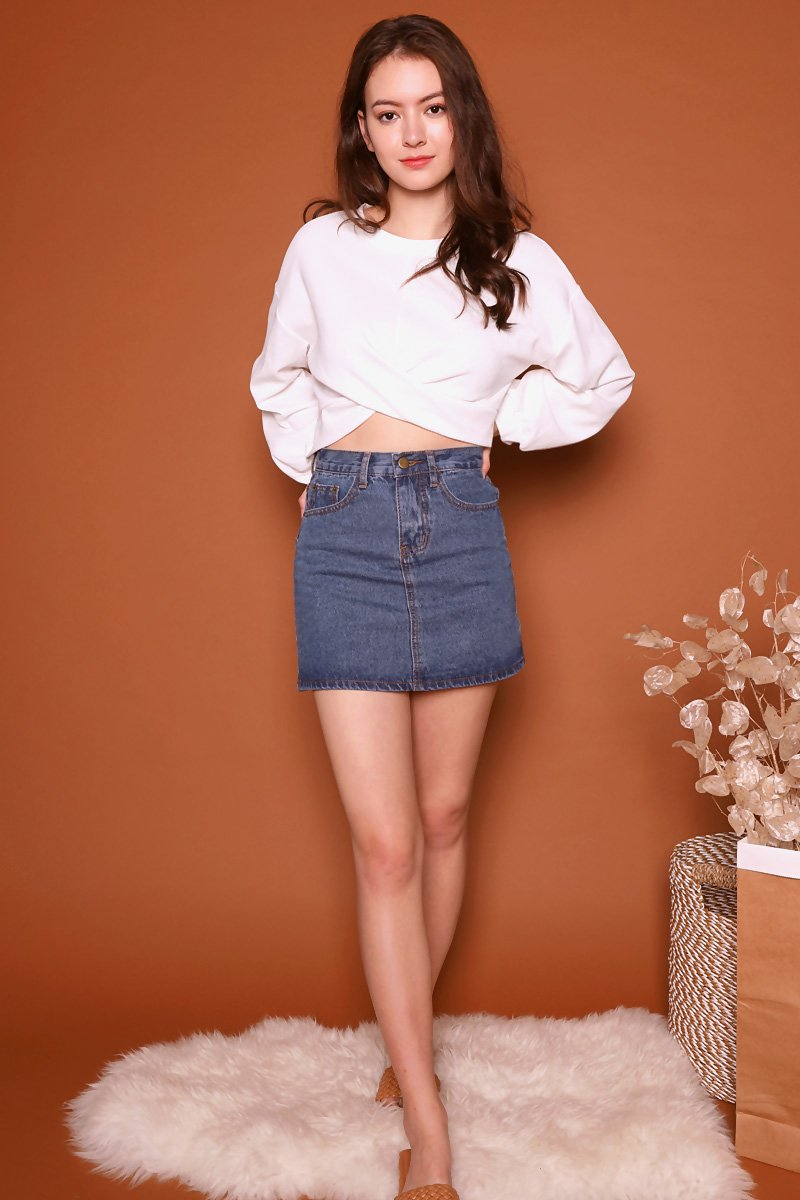 Oreli High Waist Skirt Dark Denim