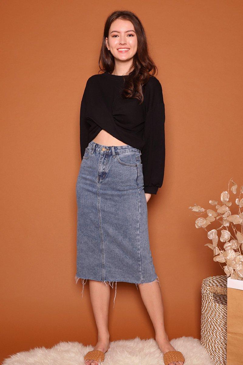 Robine Denim Raw Hem Midi Skirt Darkwashed
