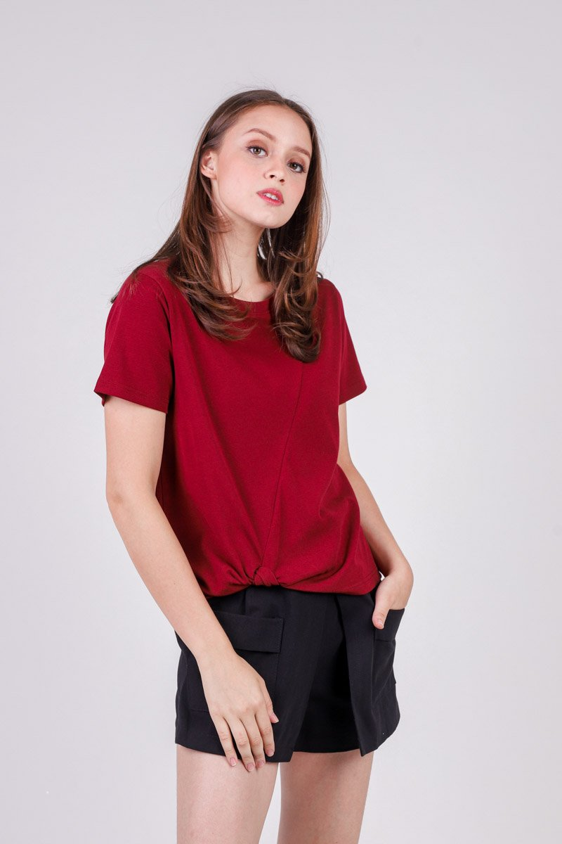 Jennis Front Knot Basic Top Wine