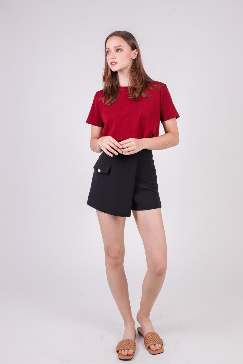 Terry Overlap Skort Black