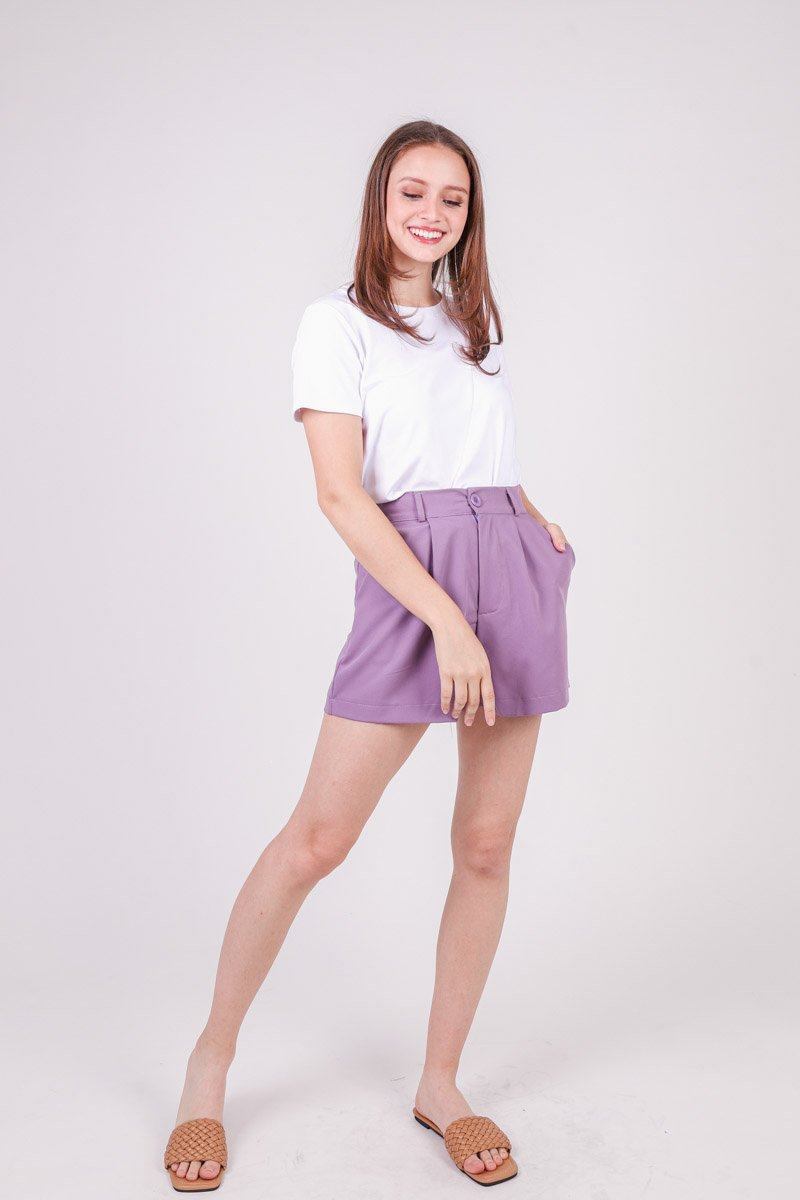 Tamsin High Waist Pleat Shorts Lilac