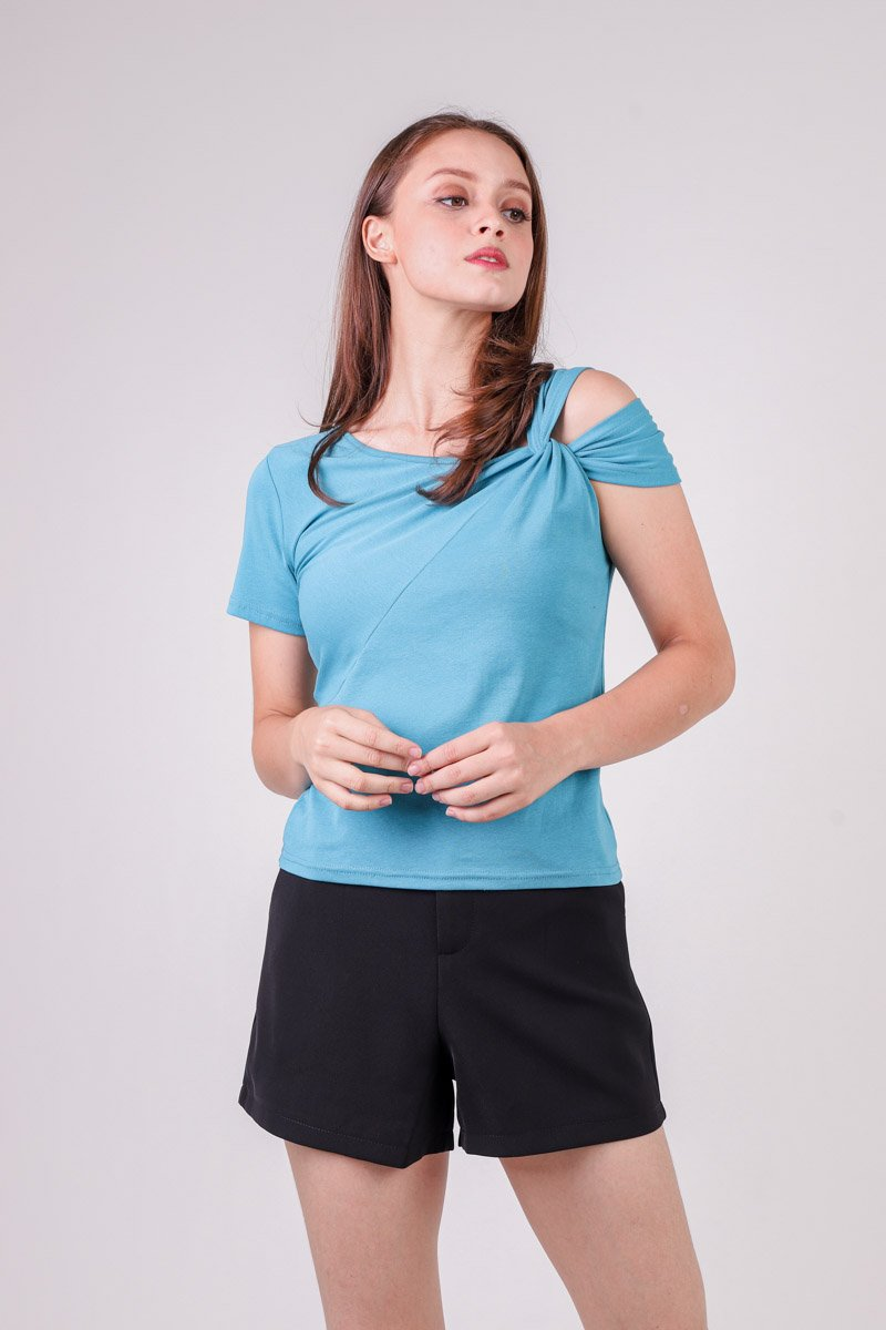 Fifer Shoulder Twist Top Turquoise