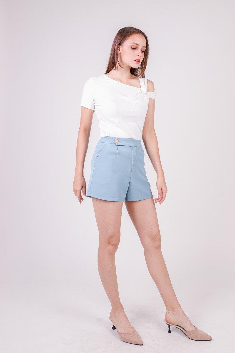 Lorna Textured Button Shorts Steel