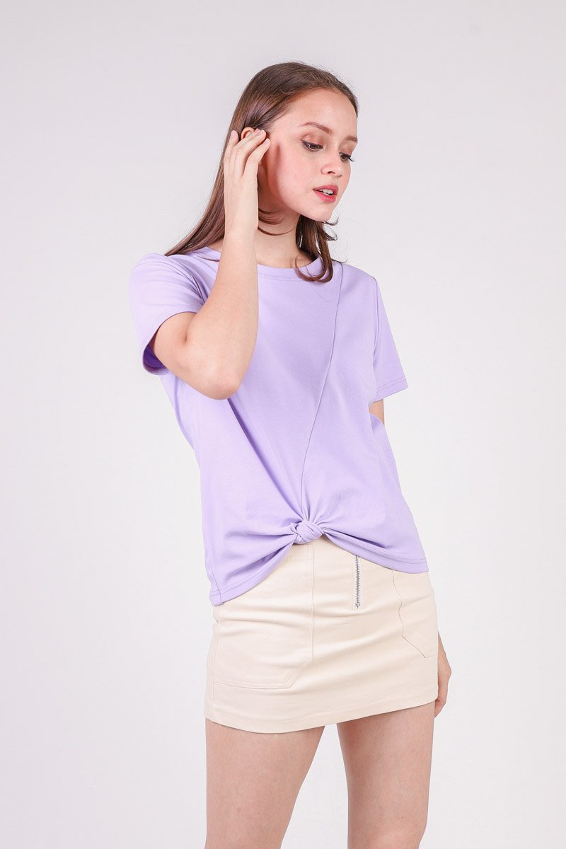 Jennis Front Knot Basic Top Lilac