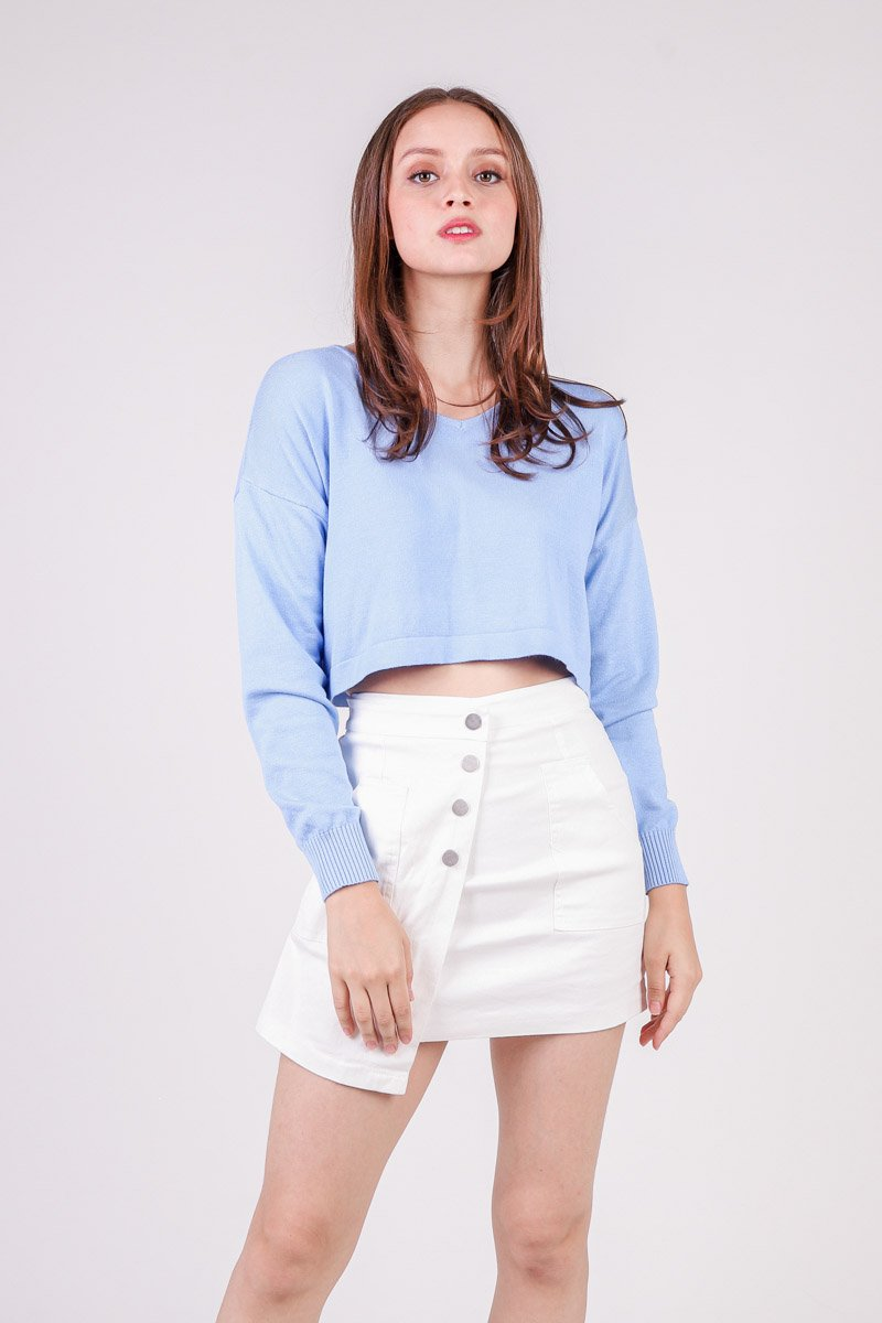 Tasha Cropped Knit Sweater Sky