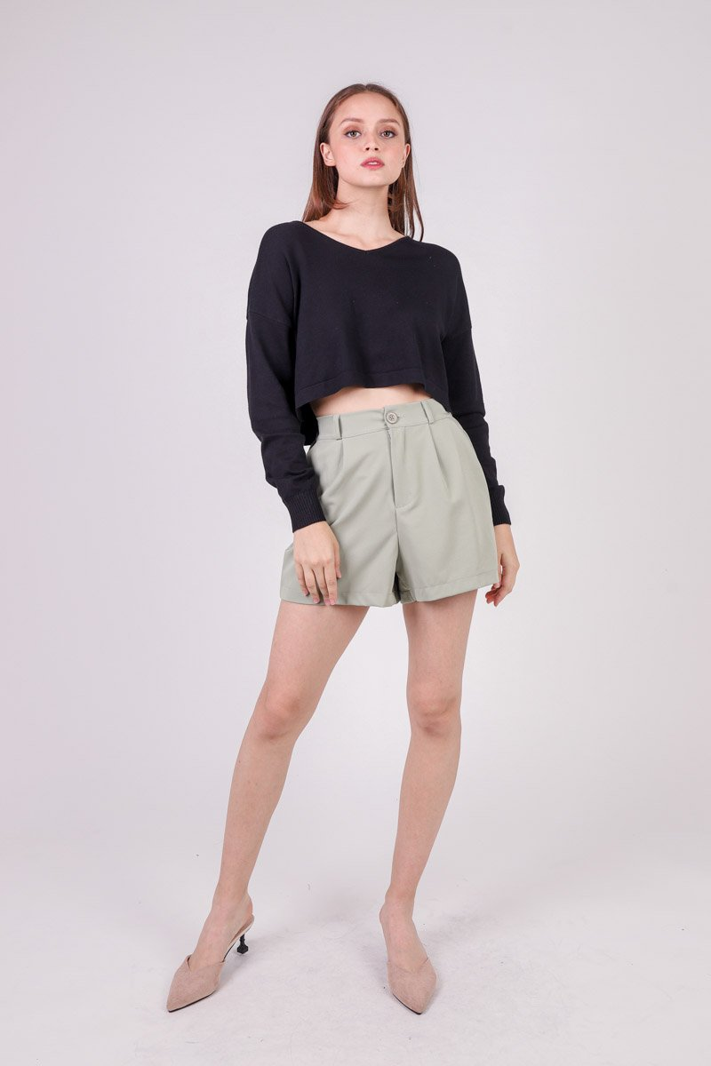 Tamsin High Waist Pleat Shorts Sage