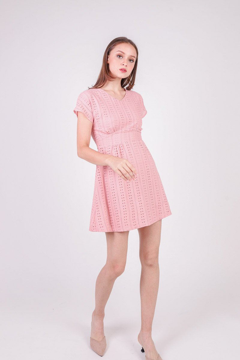 Aliz Cap Sleeve Eyelet Dress Blush