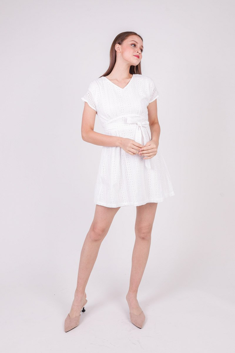 Aliz Cap Sleeve Eyelet Dress Ivory