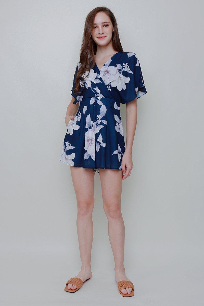 [BACKORDER]Abilene Floral Kimono Romper Midnight Blue