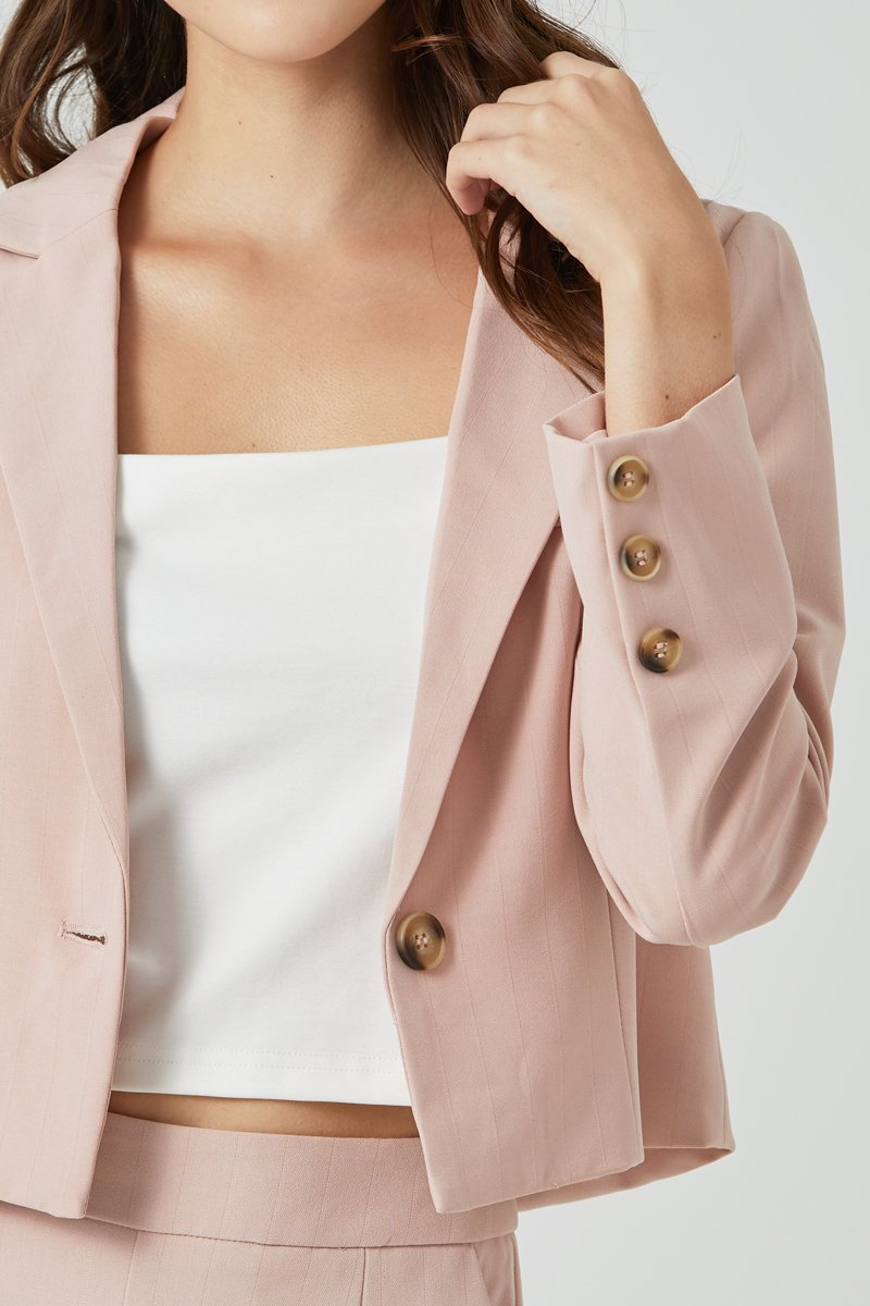 Zoe Crop Blazer Blush