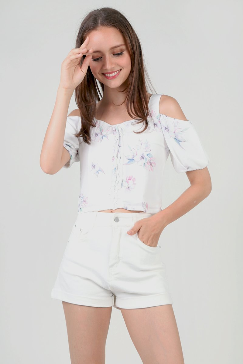 Haru Front Lace Floral Top Ivory