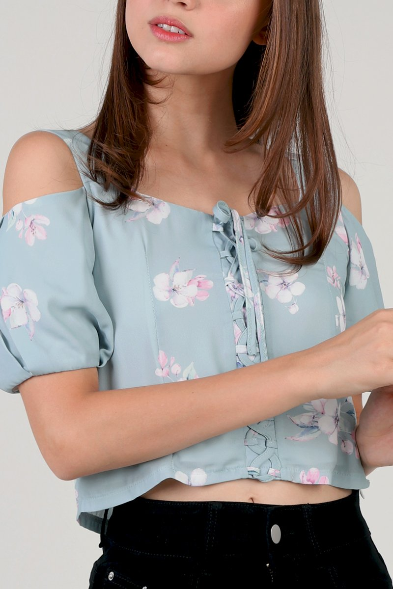 Haru Front Lace Floral Top Mint