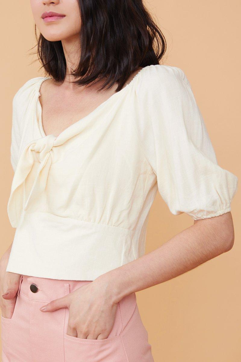 Abril Linen Puff Sleeves Top Cream