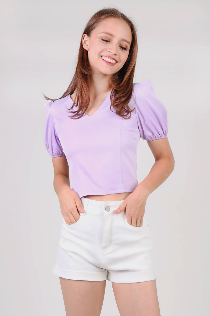 Ashton Puff Sleeve Zip Top Lilac