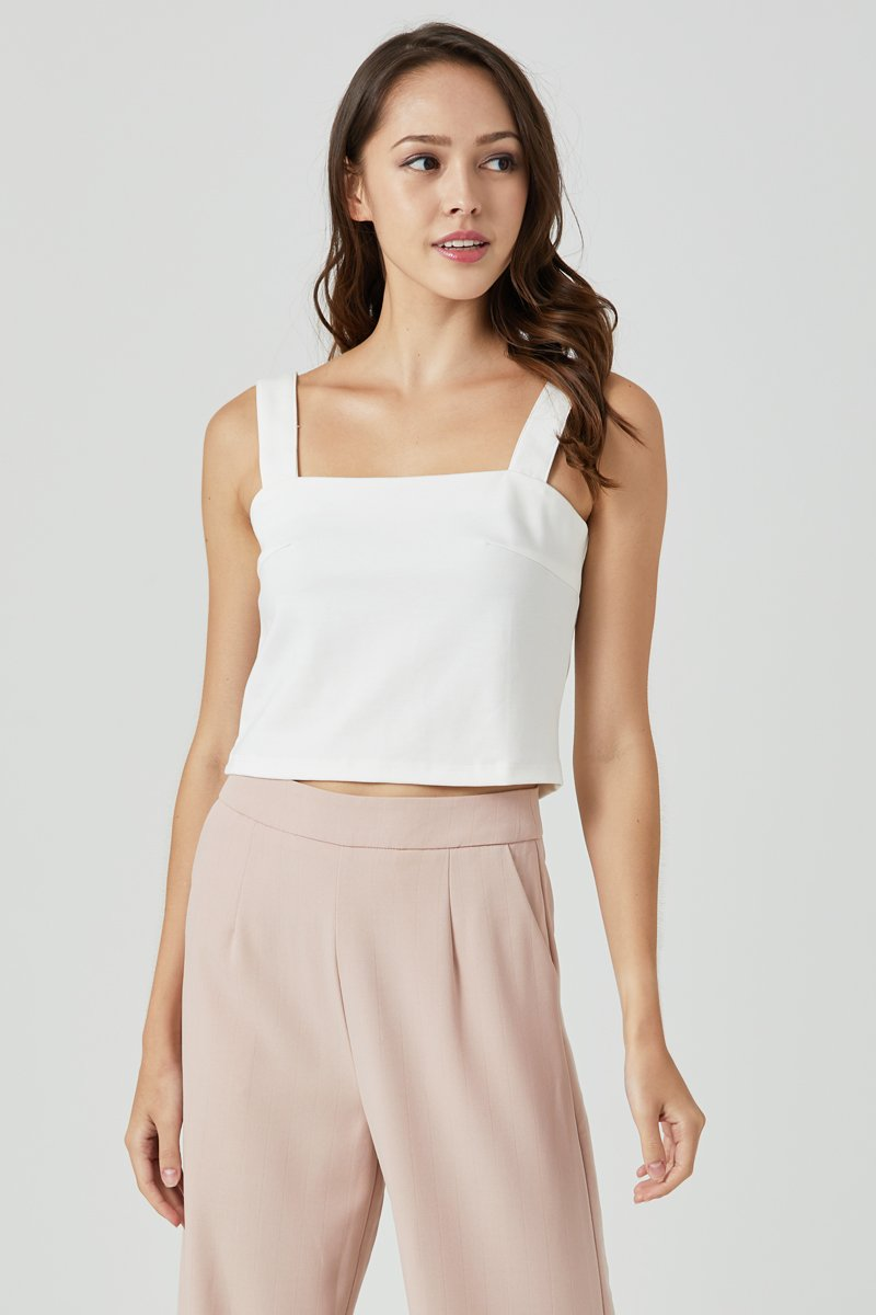 Kaylene Square Neck Crop Tank Top Ivory