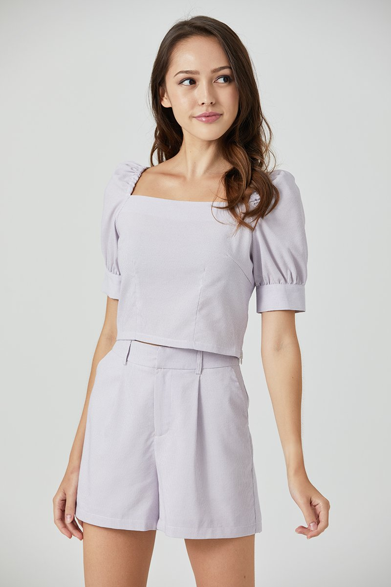 Ethel Stripe Puff Sleeve Top Lilac