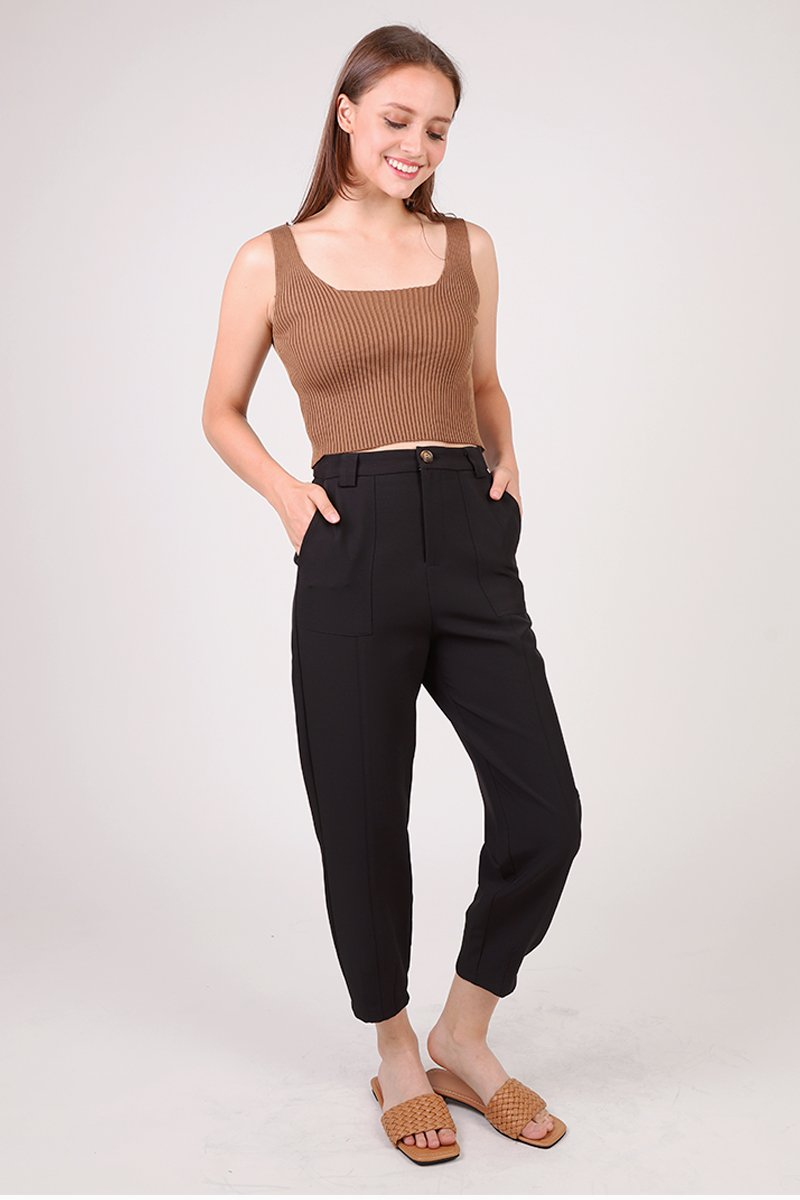 Arabelle Cropped Legged Tailored Pants Black