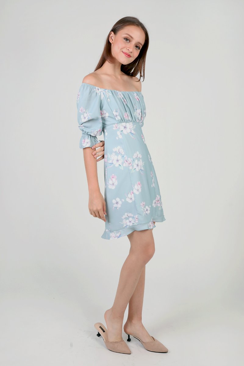 Haru Off Shoulder Floral Dress Mint