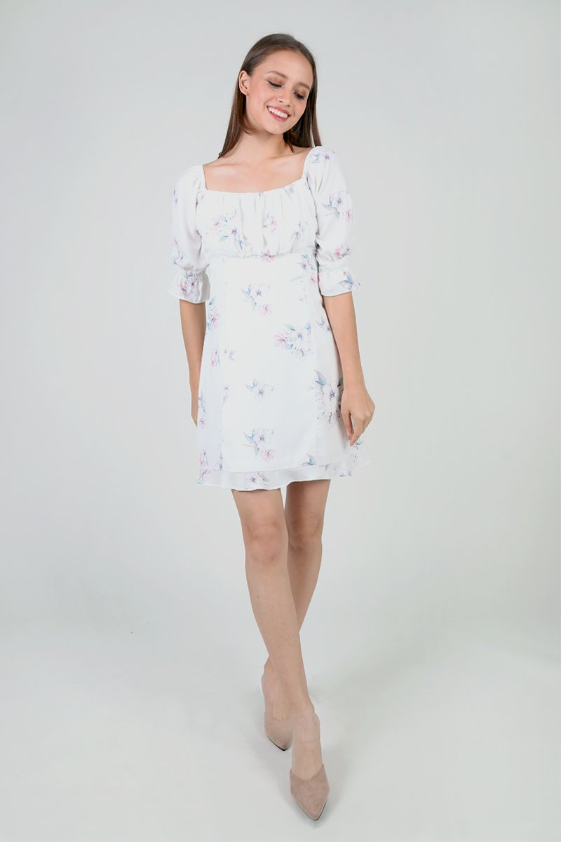Haru Off Shoulder Floral Dress Ivory