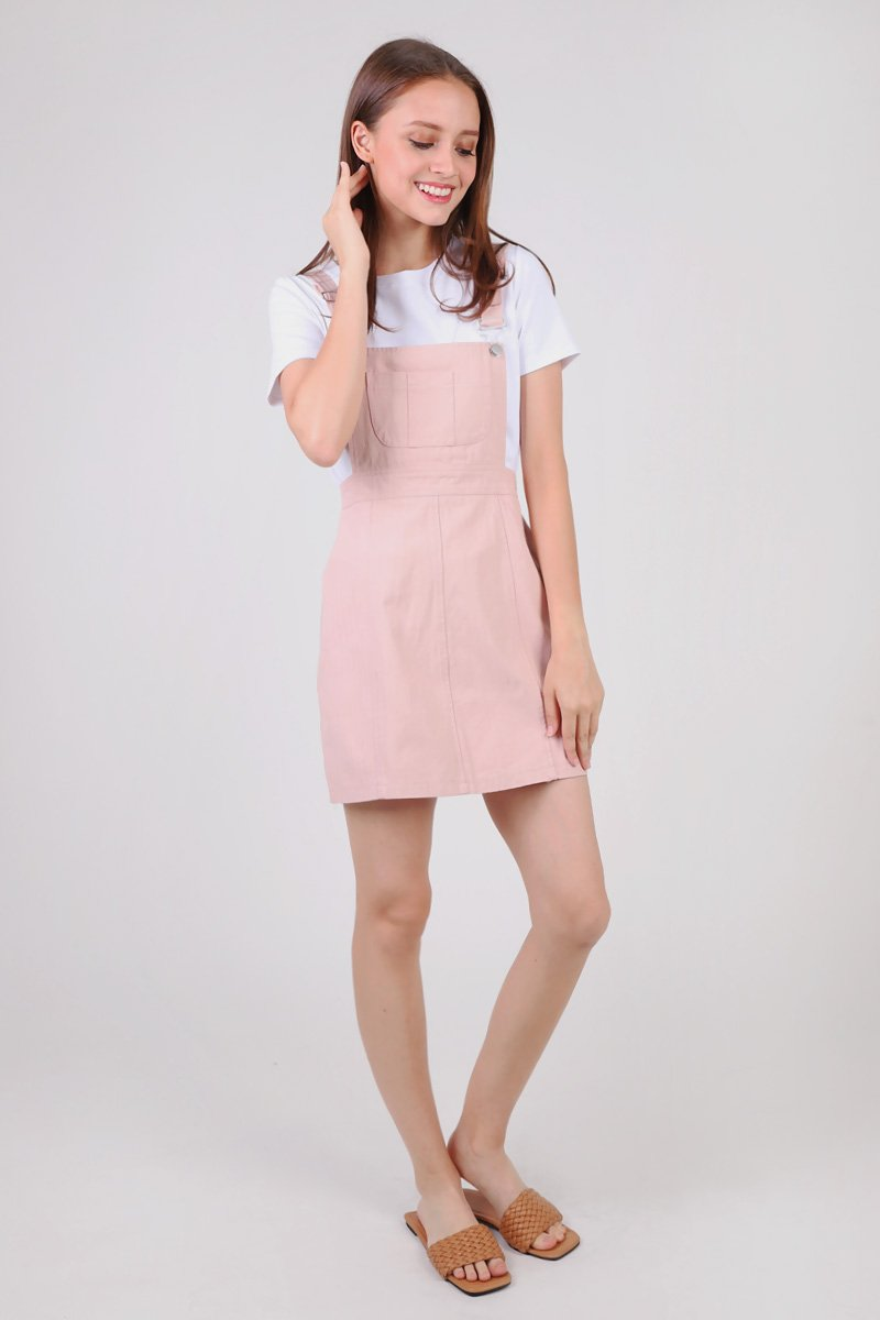 Brayden Pinafore Dress Blush