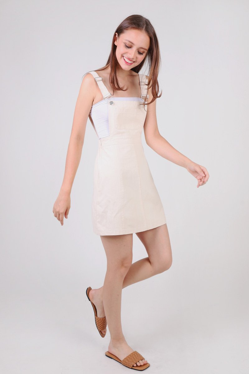 Brayden Pinafore Dress Cream