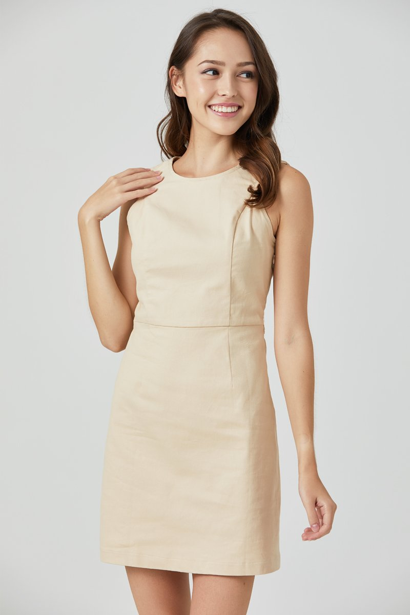 Dulcie Button Back Dress Cream