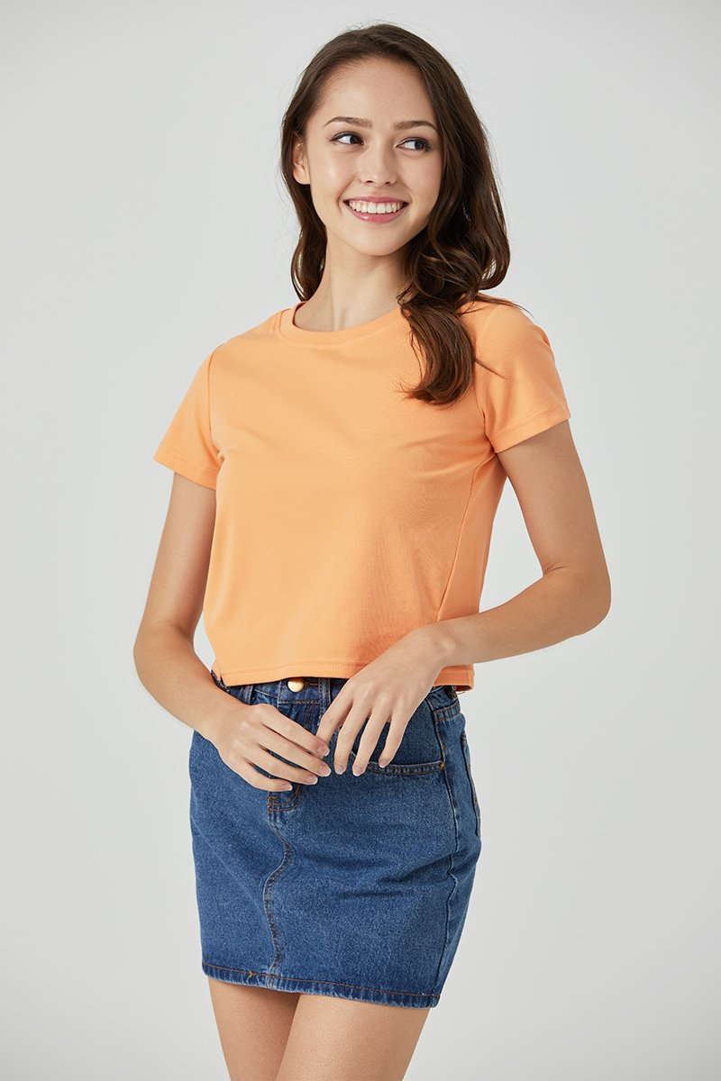 Lisza Cut Out Crop Top Neon Orange