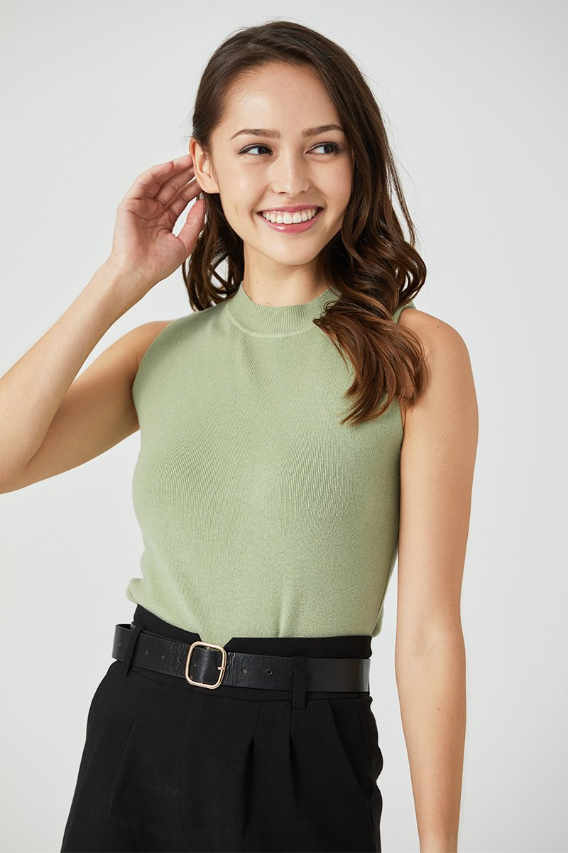 Camber Mock Neck Knit Top Mint
