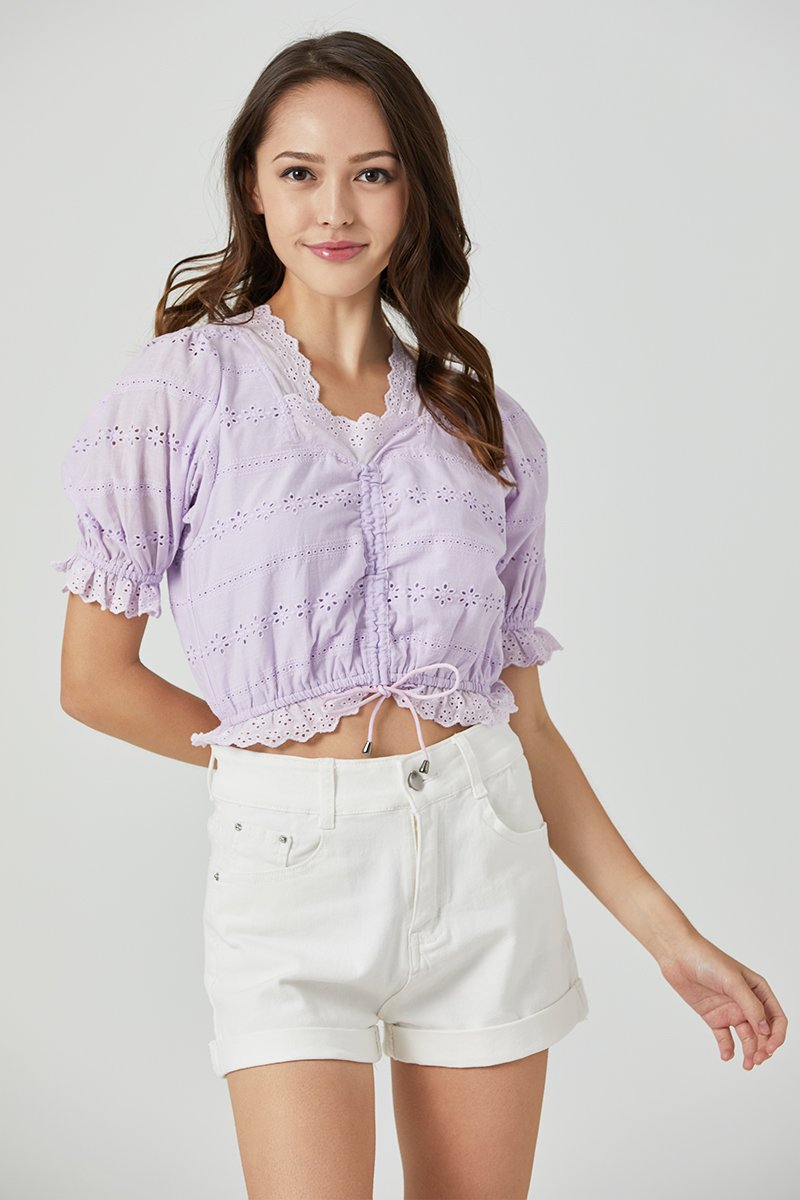 Abelle Puff Sleeve Eyelet Top Lilac
