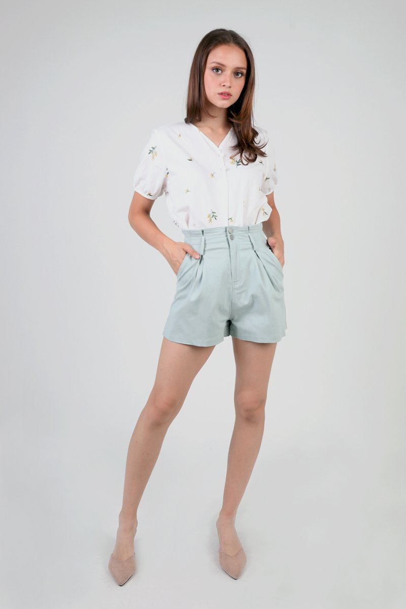 Elis High Waist Paperbag Shorts Mint